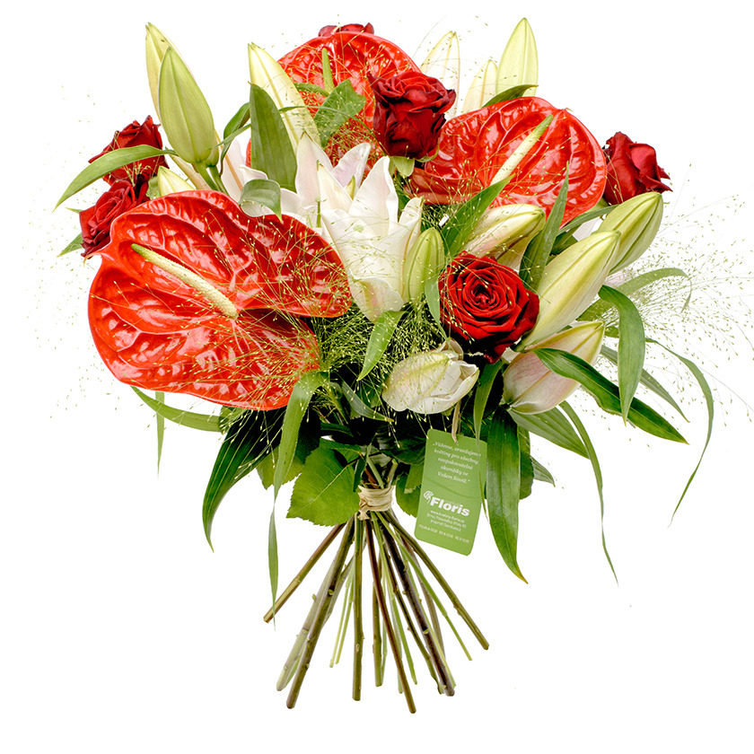 Anthurium and rose bouquet - Brno