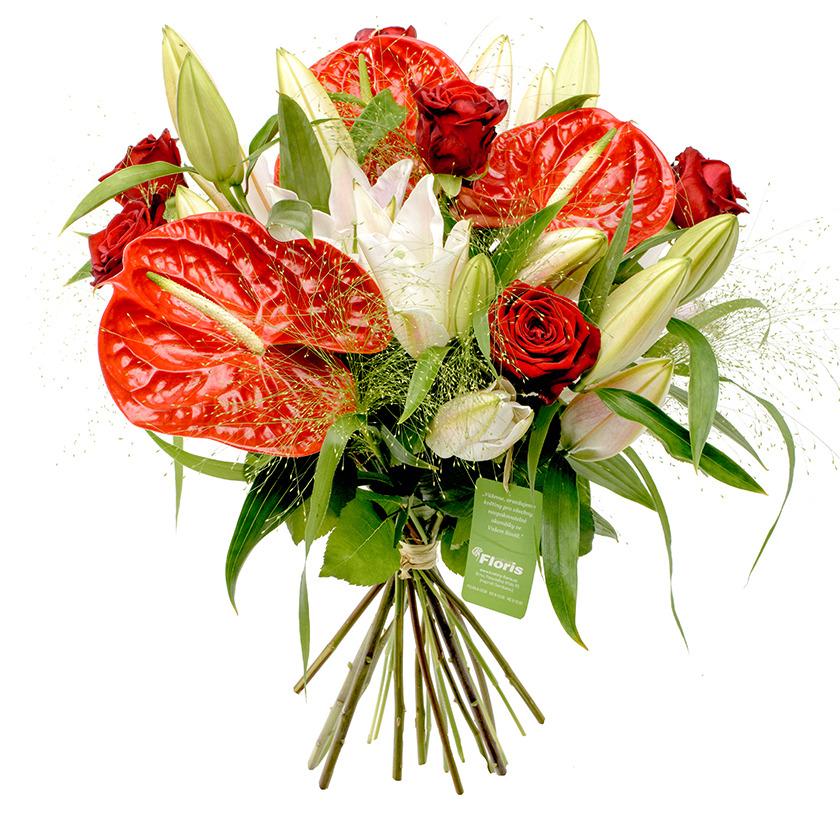 Kytice z anturií a růží