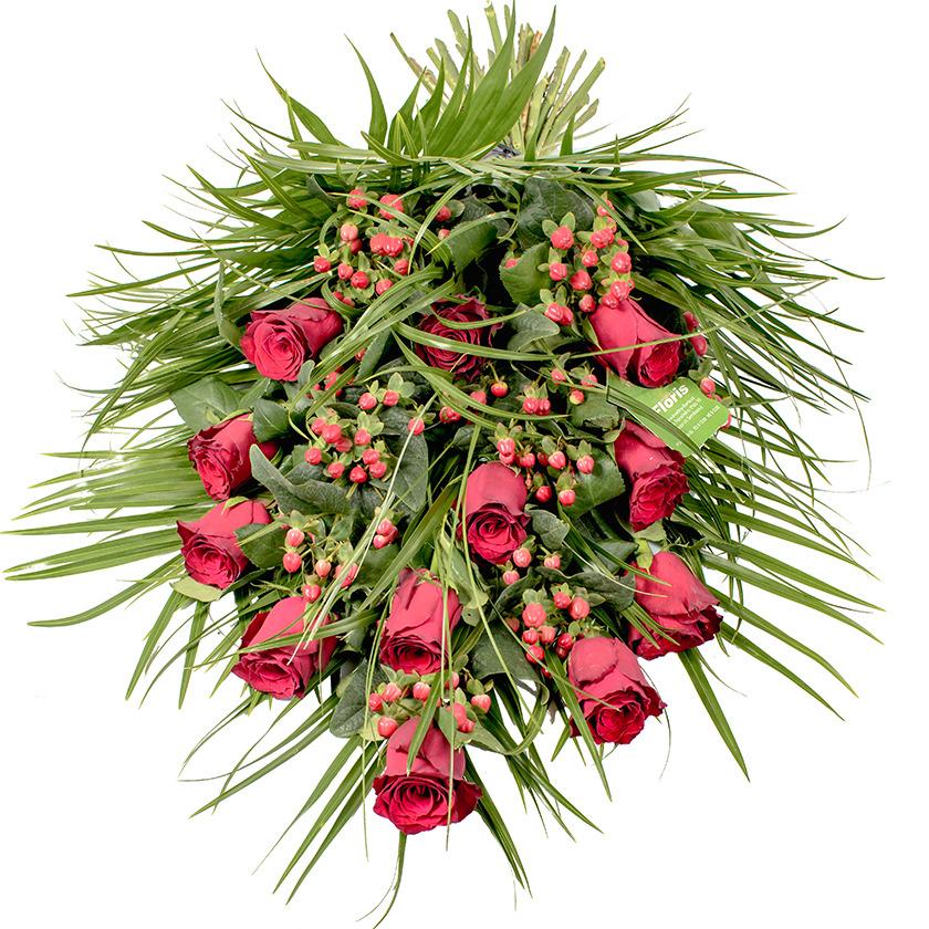 Smuteční kytice červené růže
