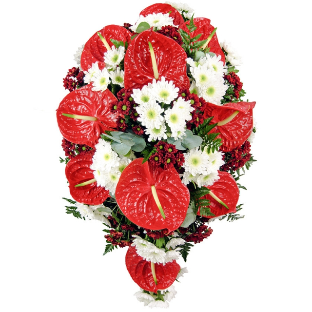 Red anthurium funeral spray - Brno