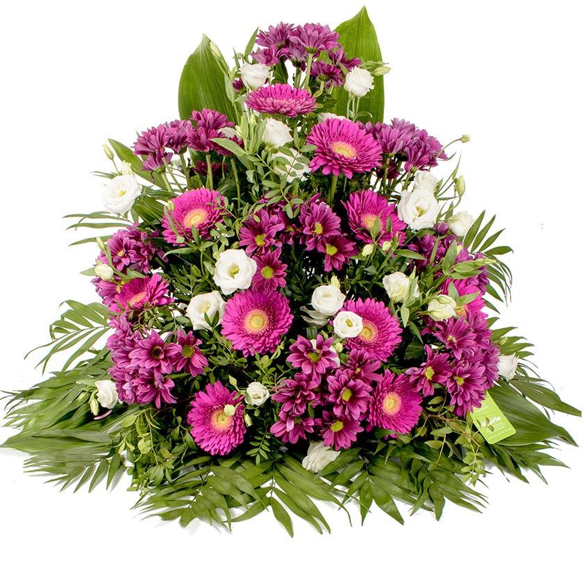 Smuteční kytice fialovo bílý jehlan