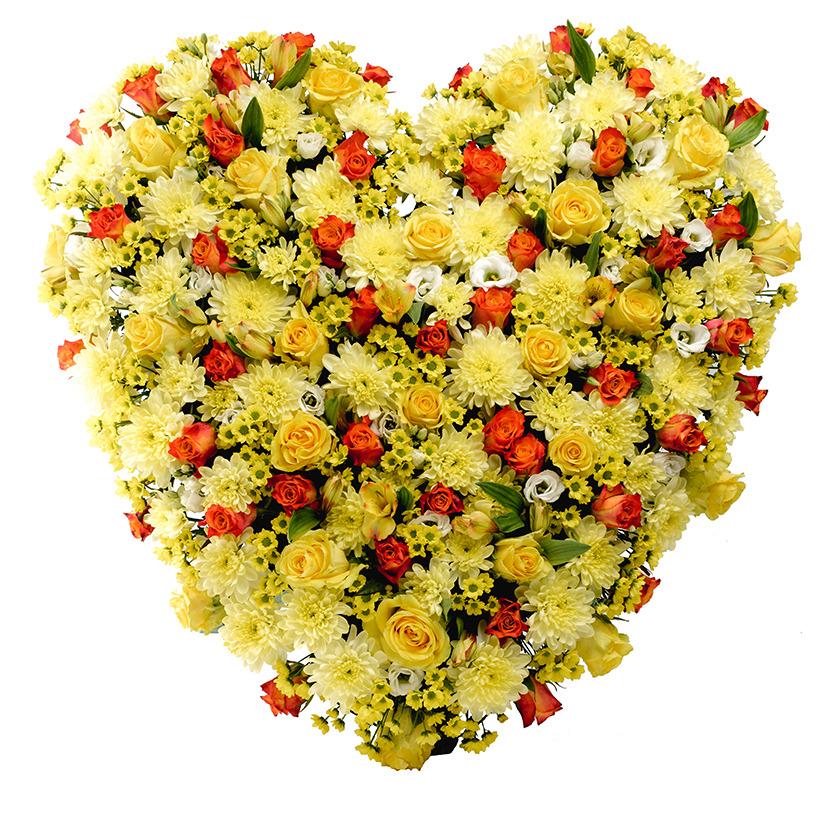Smuteční srdce žluto oranžové