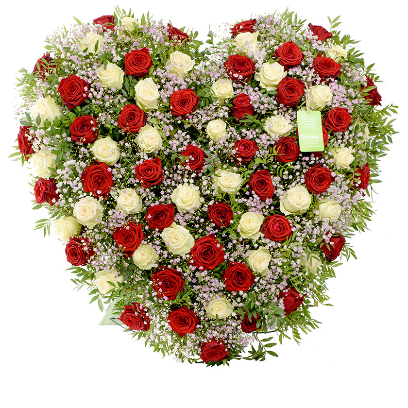 Smuteční srdce červeno bílé - Brno