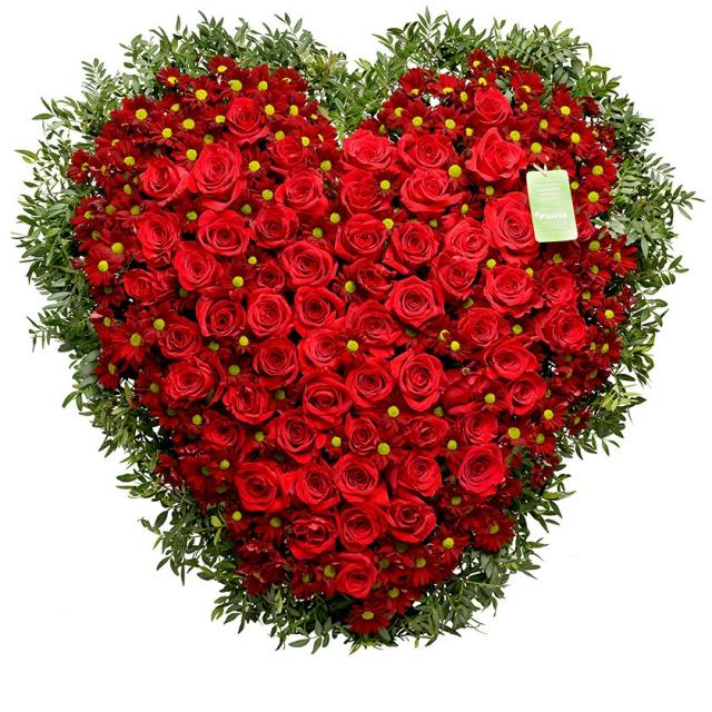 Smuteční srdce růže chryzantémy - Brno