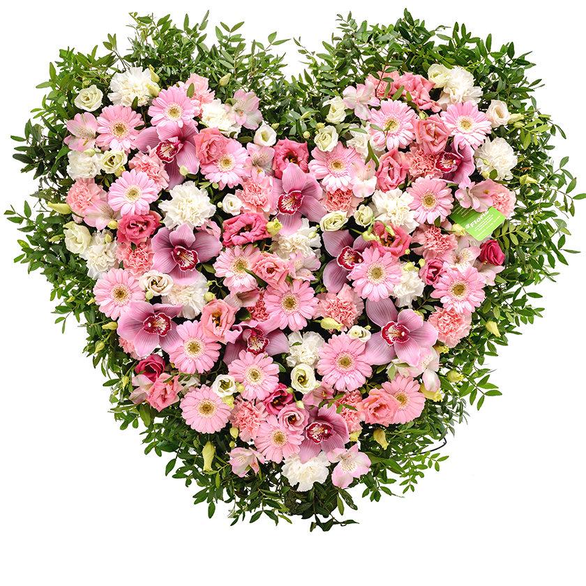 Smuteční srdce růžový mix - Brno