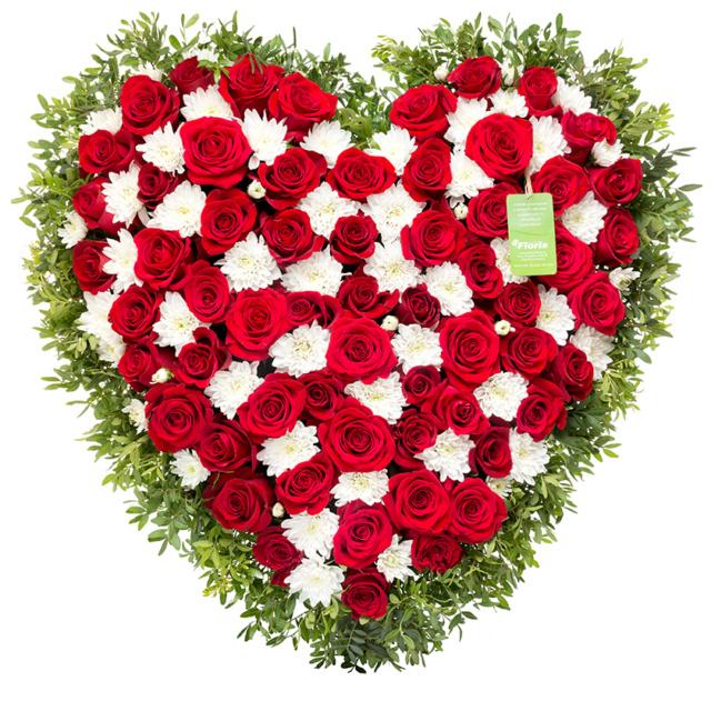 Smuteční srdce růže chryzantémy