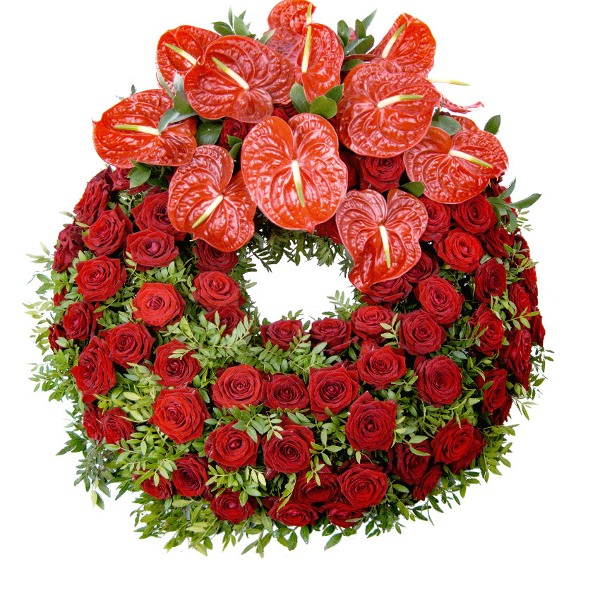 Rose and anthurium luxury funeral wreath - Brno