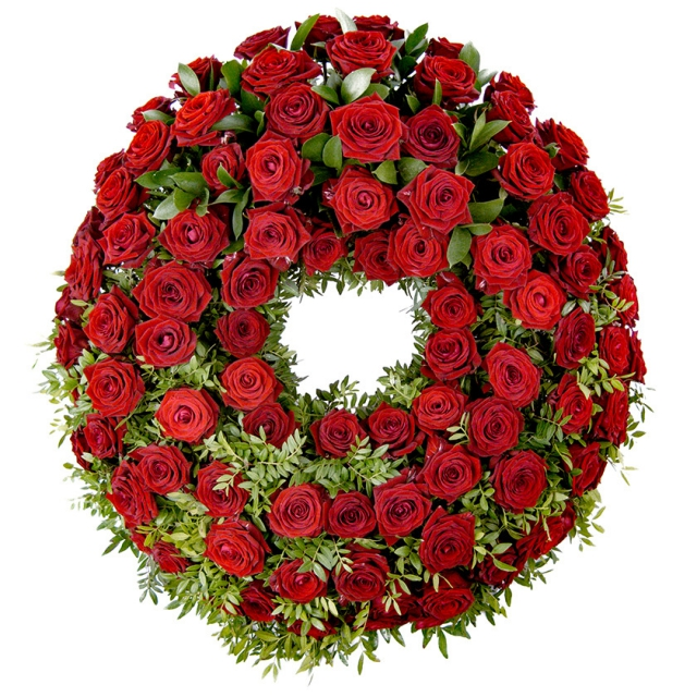Rose luxury funeral wreath - Brno