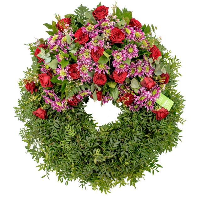 Red & violet funeral wreath - Brno