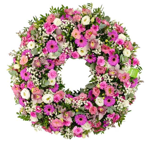 Violet mix funeral wreath - Brno