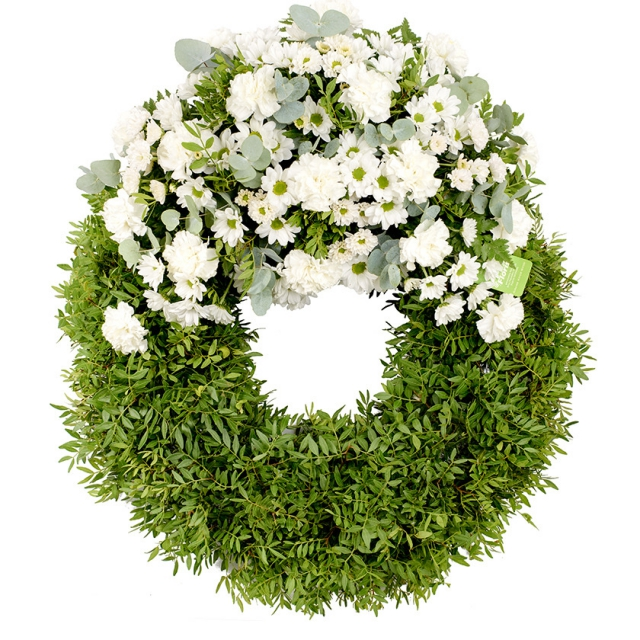 Carnation chrysanthemum funeral wreath - Brno