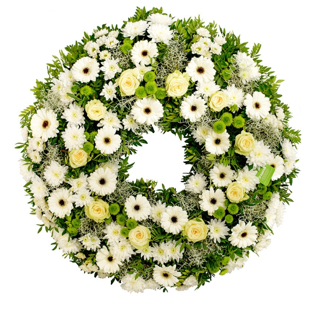 White and green funeral wreath - Brno