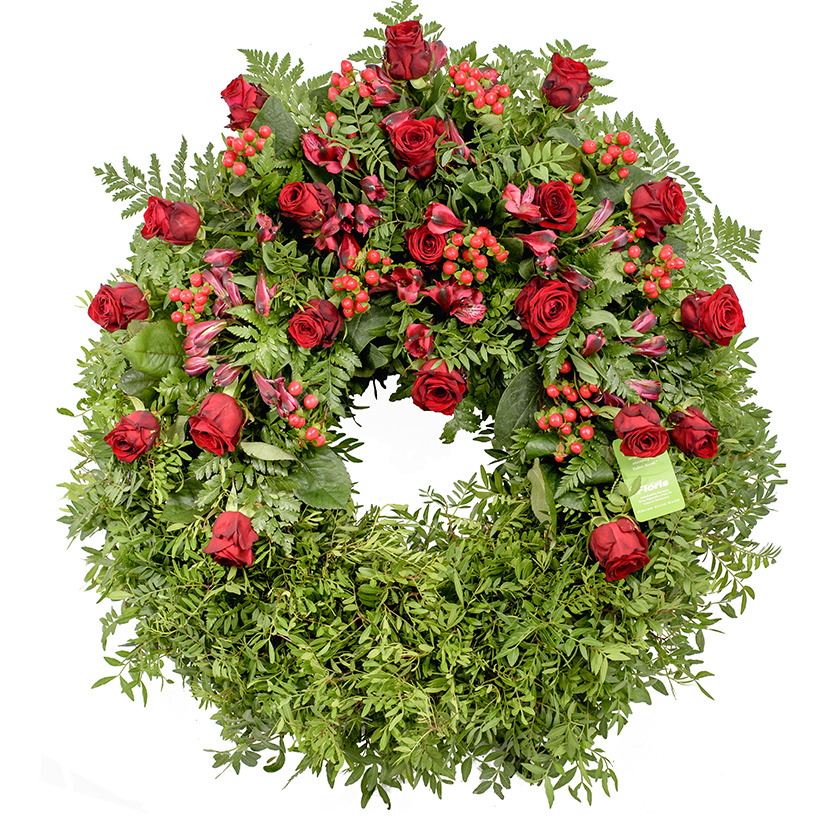 Red funeral wreath - Brno