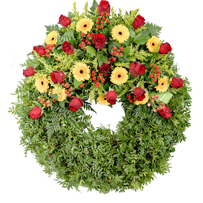 Yellow red funeral wreath  - Brno