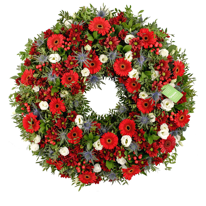 Red mix funeral wreath - Brno