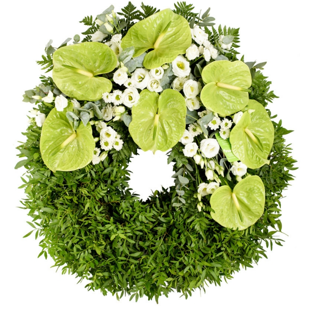 Anthurium eustoma funeral wreath - Brno