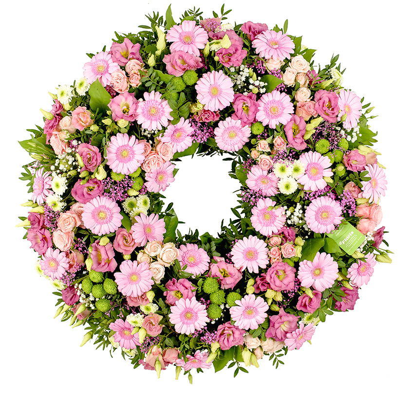 Pink mix funeral wreath - Brno
